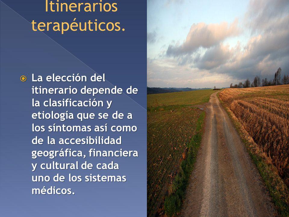Itinerarios terapéuticos. La elección del itinerario depende de la clasificación y etiología que se de a los síntomas así como de la accesibilidad geo