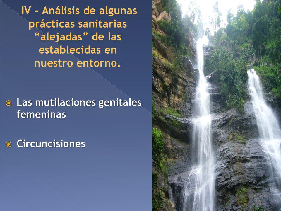 IV - Análisis de algunas prácticas sanitarias alejadas de las establecidas en nuestro entorno. Las mutilaciones genitales femeninas Las mutilaciones g