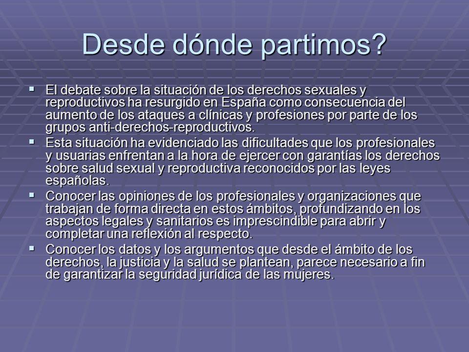 Desde dónde partimos? El debate sobre la situación de los derechos sexuales y reproductivos ha resurgido en España como consecuencia del aumento de lo