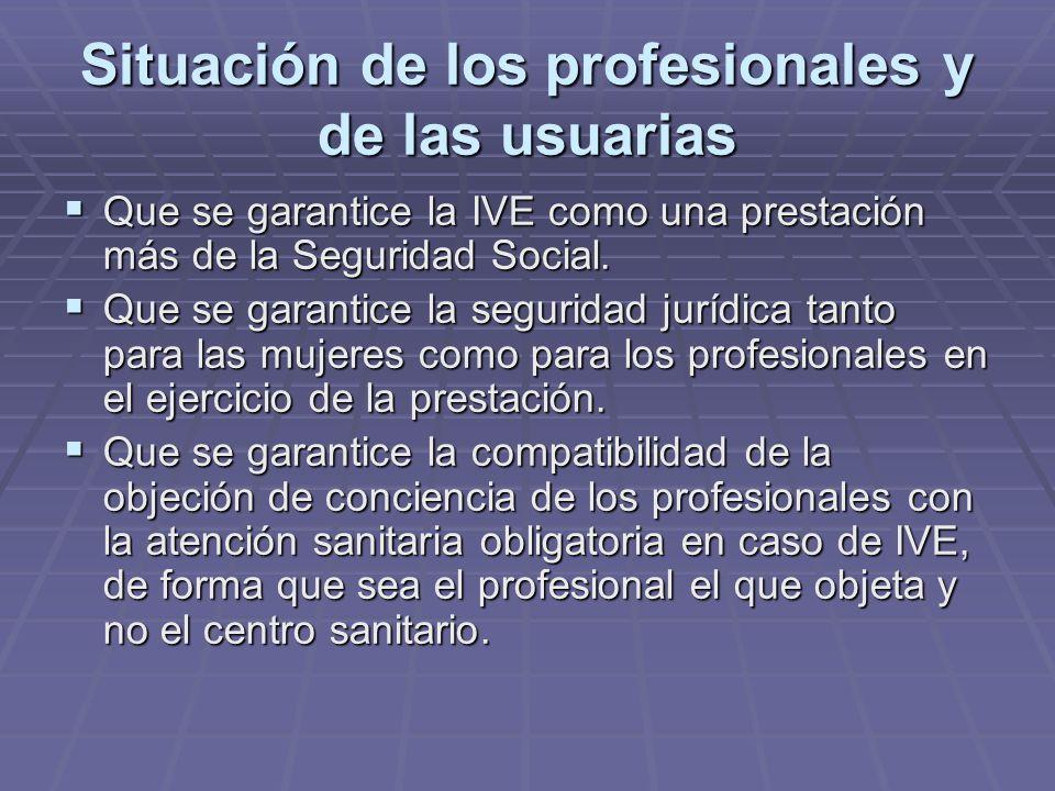 Situación de los profesionales y de las usuarias Que se garantice la IVE como una prestación más de la Seguridad Social. Que se garantice la IVE como