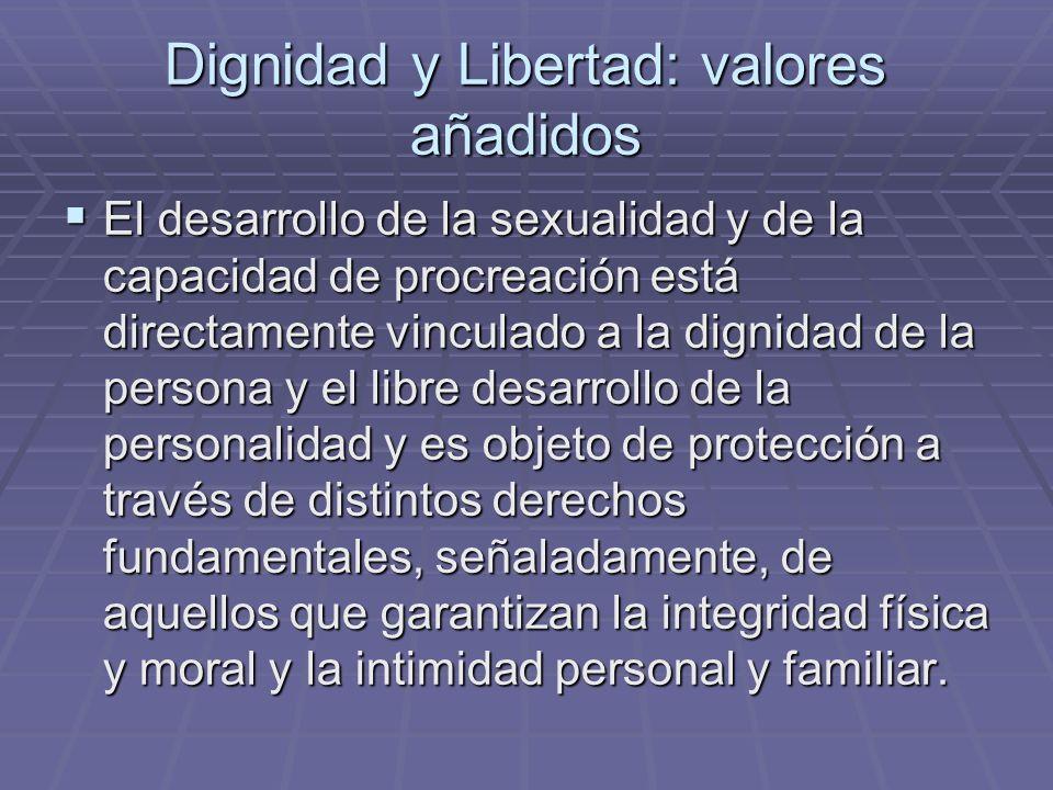 Dignidad y Libertad: valores añadidos El desarrollo de la sexualidad y de la capacidad de procreación está directamente vinculado a la dignidad de la