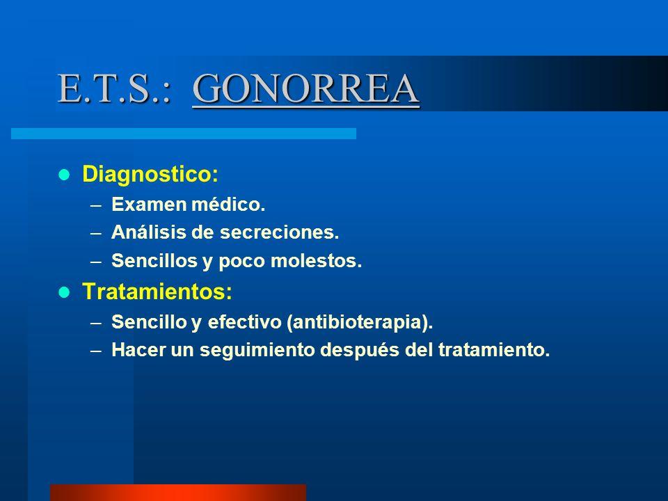 E.T.S.: GONORREA Diagnostico: –Examen médico. –Análisis de secreciones. –Sencillos y poco molestos. Tratamientos: –Sencillo y efectivo (antibioterapia
