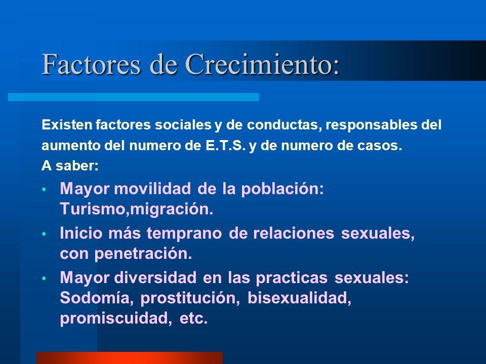 Factores de Crecimiento: Existen factores sociales y de conductas, responsables del aumento del numero de E.T.S. y de numero de casos. A saber: Mayor