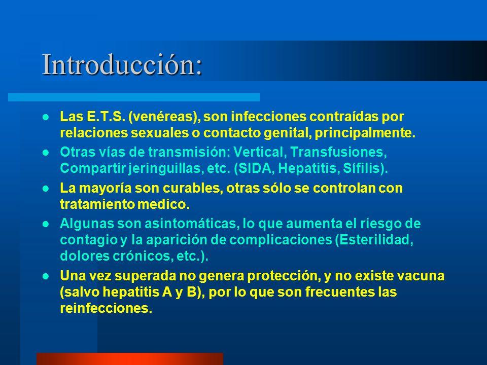 Introducción: Las E.T.S. (venéreas), son infecciones contraídas por relaciones sexuales o contacto genital, principalmente. Otras vías de transmisión: