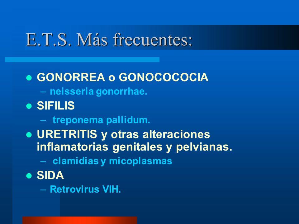 E.T.S.Más frecuentes: GONORREA o GONOCOCOCIA –neisseria gonorrhae.