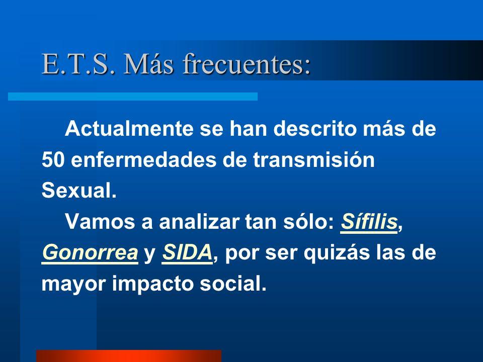 E.T.S. Más frecuentes: Actualmente se han descrito más de 50 enfermedades de transmisión Sexual. Vamos a analizar tan sólo: Sífilis, Gonorrea y SIDA,