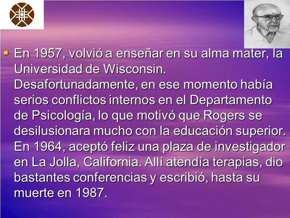 En 1957, volvió a enseñar en su alma mater, la Universidad de Wisconsin. Desafortunadamente, en ese momento había serios conflictos internos en el Dep