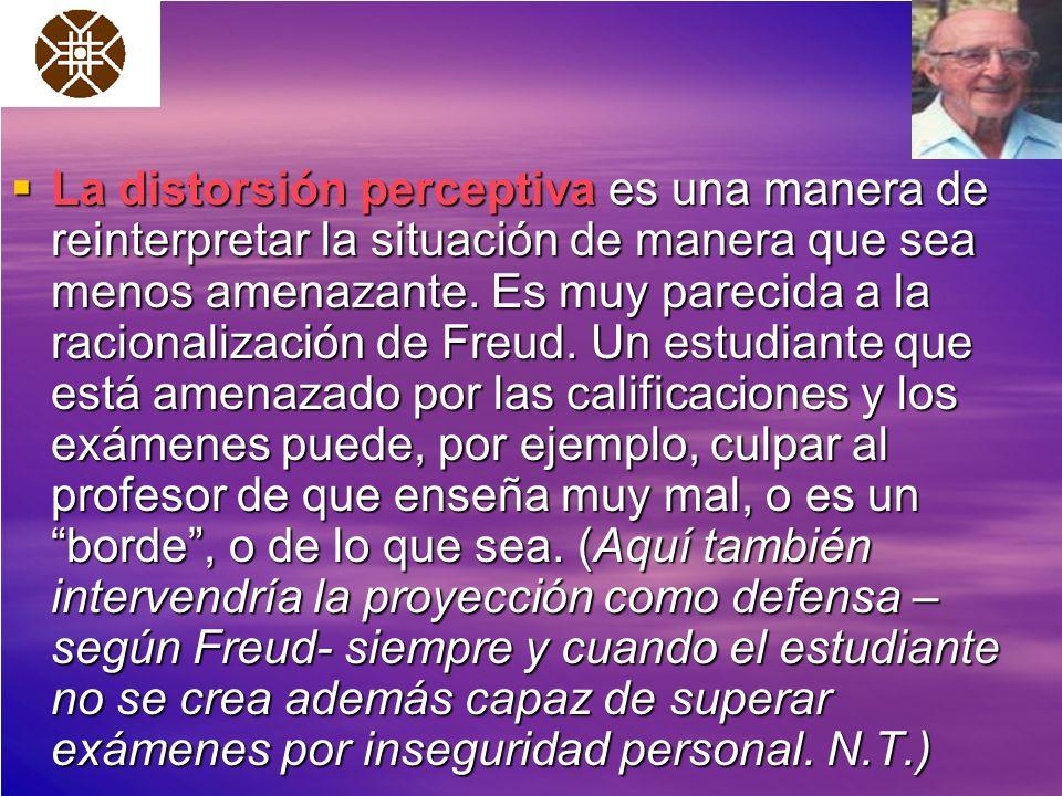 La distorsión perceptiva es una manera de reinterpretar la situación de manera que sea menos amenazante. Es muy parecida a la racionalización de Freud