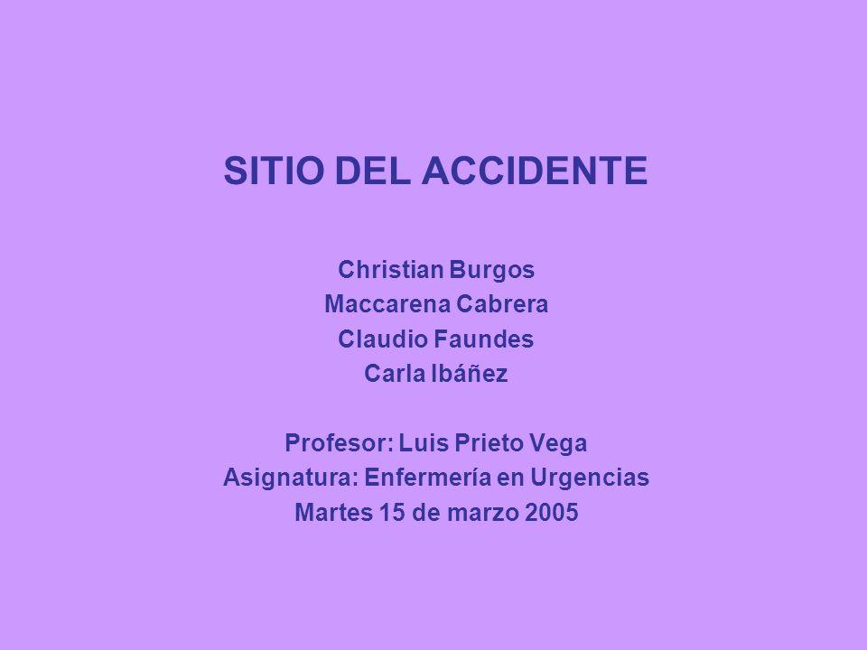SITIO DEL ACCIDENTE Christian Burgos Maccarena Cabrera Claudio Faundes Carla Ibáñez Profesor: Luis Prieto Vega Asignatura: Enfermería en Urgencias Mar