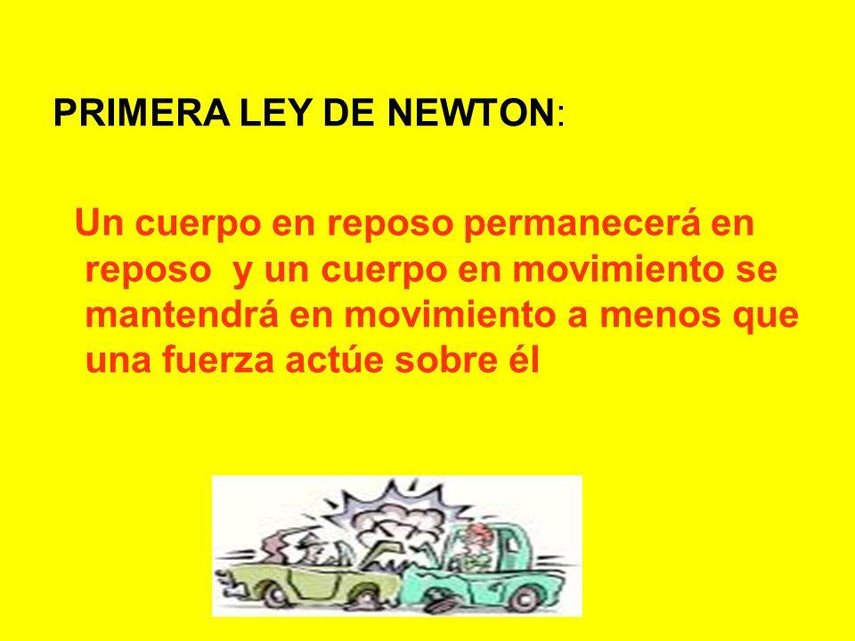 PRIMERA LEY DE NEWTON: Un cuerpo en reposo permanecerá en reposo y un cuerpo en movimiento se mantendrá en movimiento a menos que una fuerza actúe sob