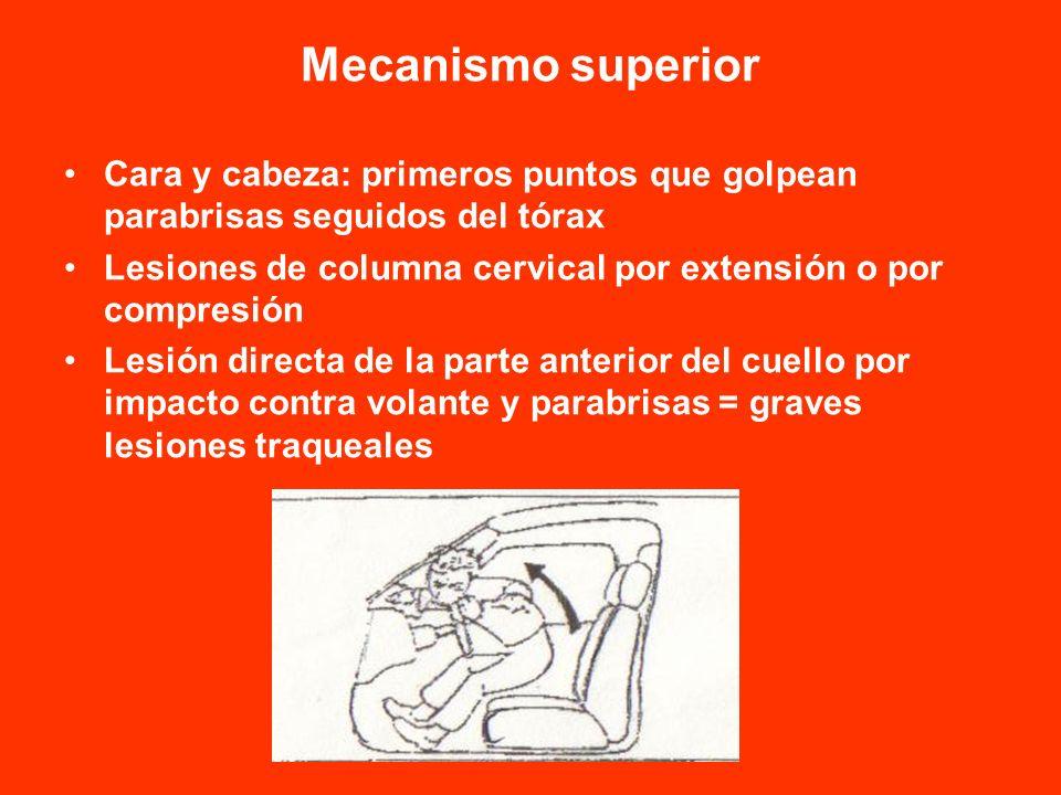 Mecanismo superior Cara y cabeza: primeros puntos que golpean parabrisas seguidos del tórax Lesiones de columna cervical por extensión o por compresió