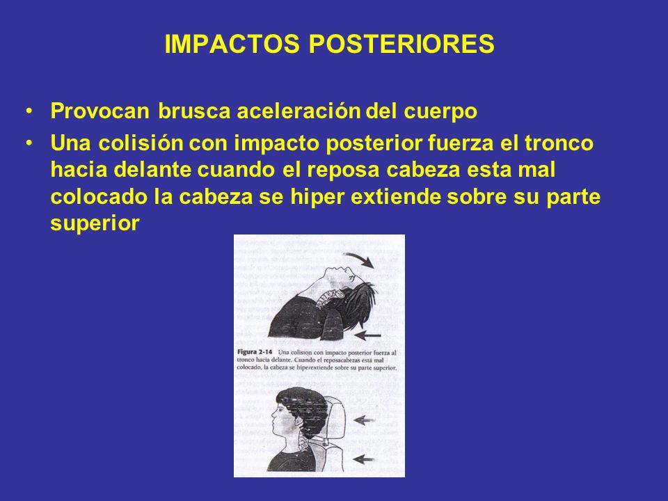 IMPACTOS POSTERIORES Provocan brusca aceleración del cuerpo Una colisión con impacto posterior fuerza el tronco hacia delante cuando el reposa cabeza