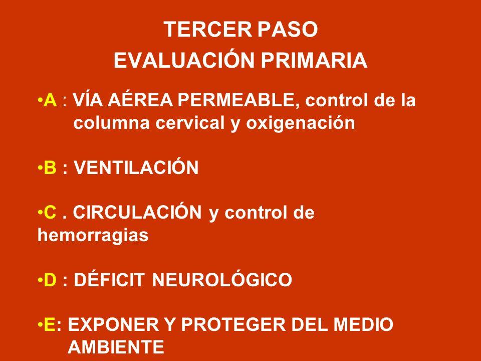 TERCER PASO EVALUACIÓN PRIMARIA A : VÍA AÉREA PERMEABLE, control de la columna cervical y oxigenación B : VENTILACIÓN C. CIRCULACIÓN y control de hemo