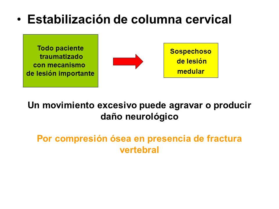 Estabilización de columna cervical Todo paciente traumatizado con mecanismo de lesión importante Sospechoso de lesión medular Un movimiento excesivo p