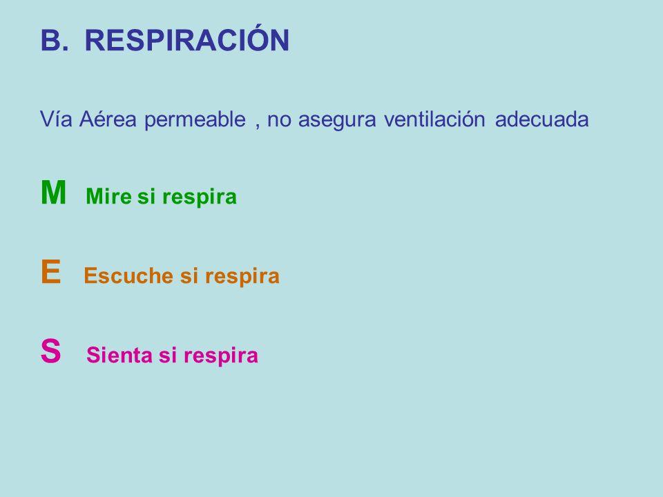 B.RESPIRACIÓN Vía Aérea permeable, no asegura ventilación adecuada M Mire si respira E Escuche si respira S Sienta si respira
