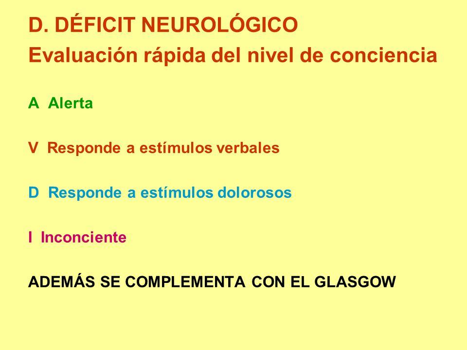 D. DÉFICIT NEUROLÓGICO Evaluación rápida del nivel de conciencia A Alerta V Responde a estímulos verbales D Responde a estímulos dolorosos I Inconcien