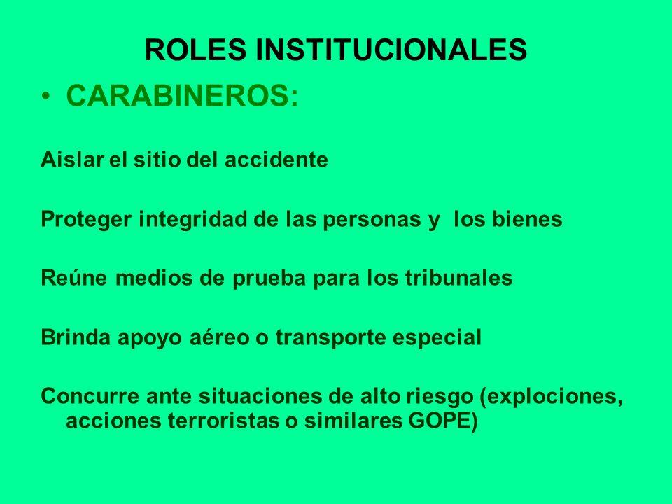 ROLES INSTITUCIONALES CARABINEROS: Aislar el sitio del accidente Proteger integridad de las personas y los bienes Reúne medios de prueba para los trib