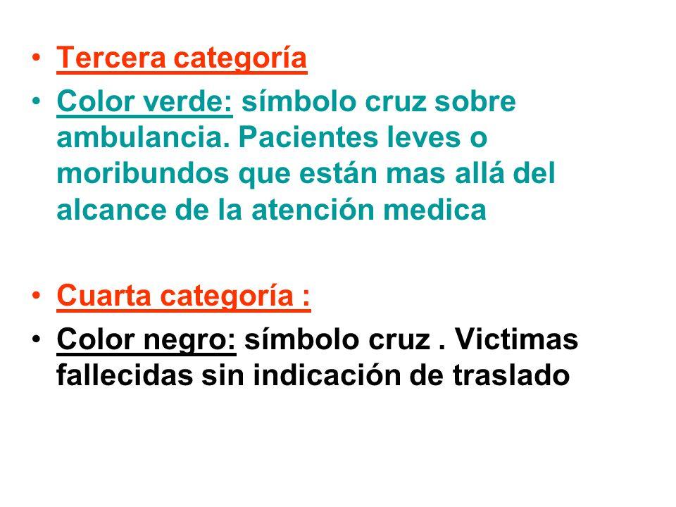 Tercera categoría Color verde: símbolo cruz sobre ambulancia. Pacientes leves o moribundos que están mas allá del alcance de la atención medica Cuarta