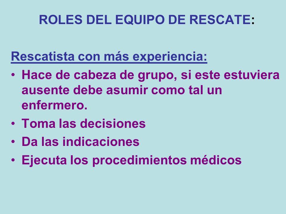 ROLES DEL EQUIPO DE RESCATE: Rescatista con más experiencia: Hace de cabeza de grupo, si este estuviera ausente debe asumir como tal un enfermero. Tom