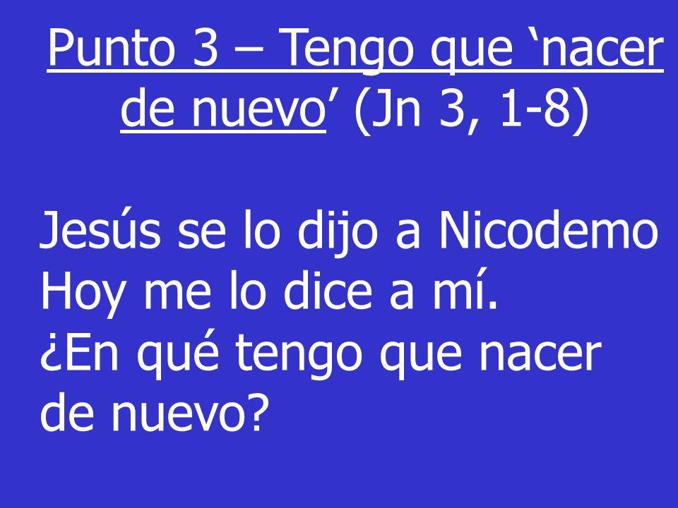 Punto 3 – Tengo que nacer de nuevo (Jn 3, 1-8) Jesús se lo dijo a Nicodemo Hoy me lo dice a mí. ¿En qué tengo que nacer de nuevo?