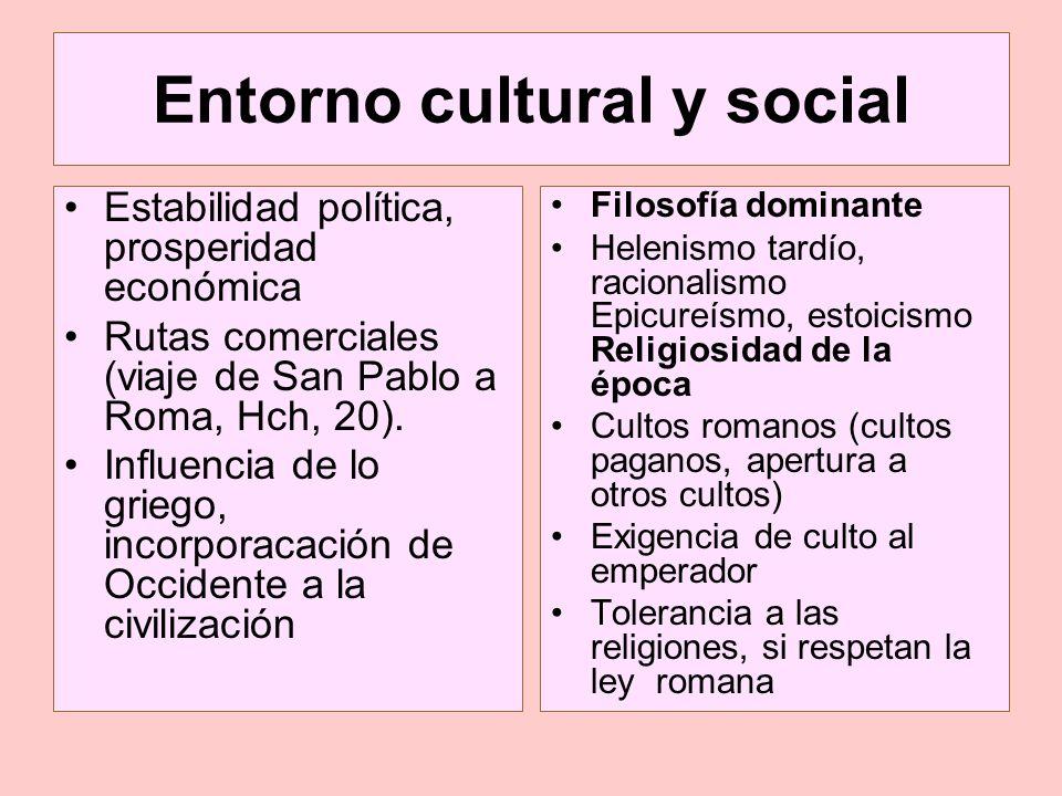 Entorno cultural y social Estabilidad política, prosperidad económica Rutas comerciales (viaje de San Pablo a Roma, Hch, 20). Influencia de lo griego,