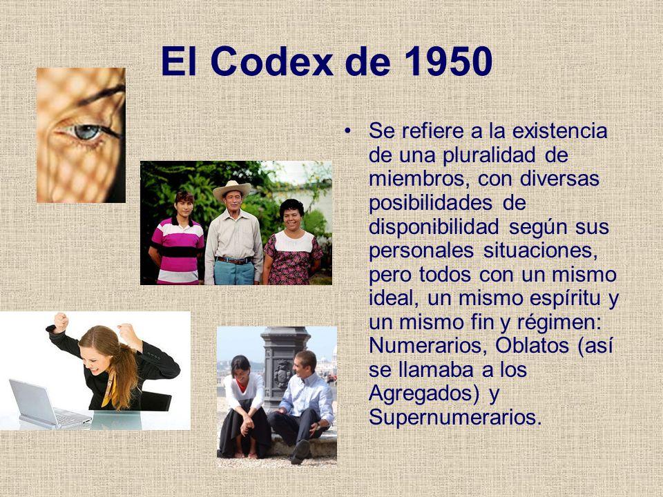 El Codex de 1950 Se refiere a la existencia de una pluralidad de miembros, con diversas posibilidades de disponibilidad según sus personales situacion