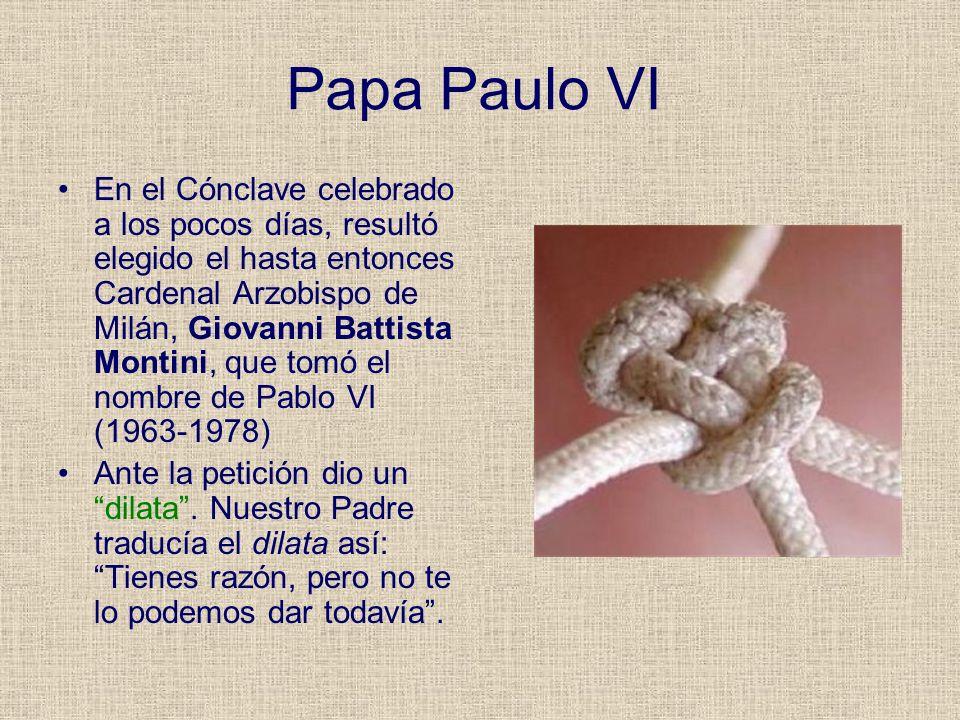 Papa Paulo VI En el Cónclave celebrado a los pocos días, resultó elegido el hasta entonces Cardenal Arzobispo de Milán, Giovanni Battista Montini, que
