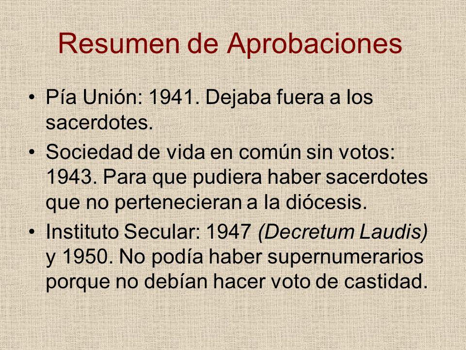 Resumen de Aprobaciones Pía Unión: 1941. Dejaba fuera a los sacerdotes. Sociedad de vida en común sin votos: 1943. Para que pudiera haber sacerdotes q