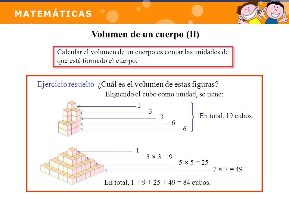 Volumen de un cuerpo (II) Calcular el volumen de un cuerpo es contar las unidades de que está formado el cuerpo. Ejercicio resuelto¿Cuál es el volumen
