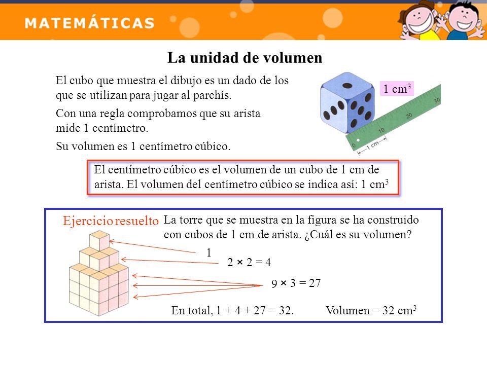 La unidad de volumen Ejercicio resuelto La torre que se muestra en la figura se ha construido con cubos de 1 cm de arista. ¿Cuál es su volumen? 1 2 ×