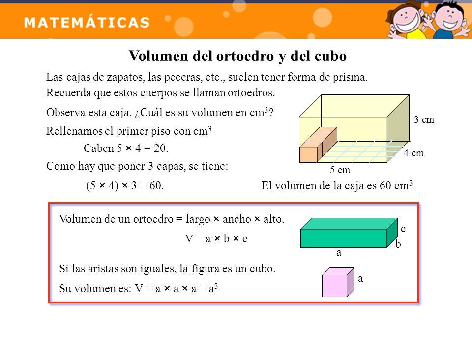 Volumen del ortoedro y del cubo Las cajas de zapatos, las peceras, etc., suelen tener forma de prisma. Recuerda que estos cuerpos se llaman ortoedros.