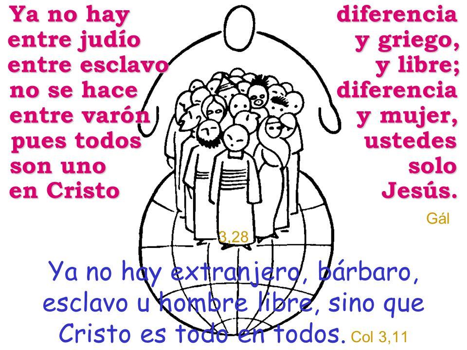 Ya no hay diferencia entre judío y griego, entre esclavo y libre; no se hace diferencia entre varón y mujer, pues todos ustedes son uno solo en Cristo