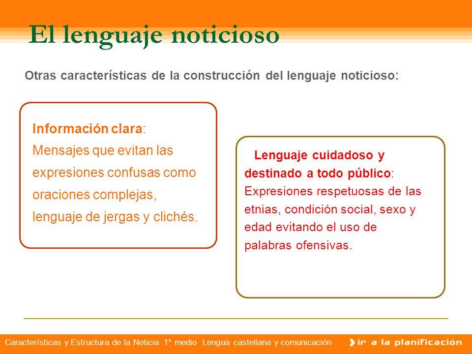 Características y Estructura de la Noticia 1° medio Lengua castellana y comunicación El lenguaje noticioso La prensa escrita, la radio y la televisión