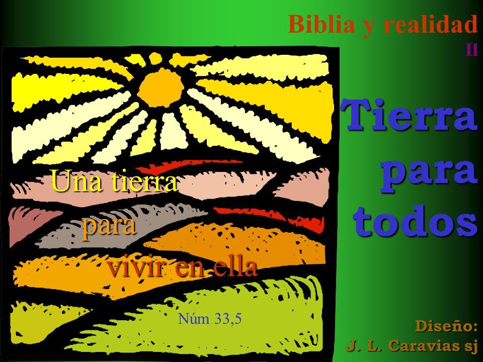 Biblia y realidad IITierraparatodos Diseño: J. L. Caravias sj Una tierra para vivir en ella Una tierra para vivir en ella Núm 33,5