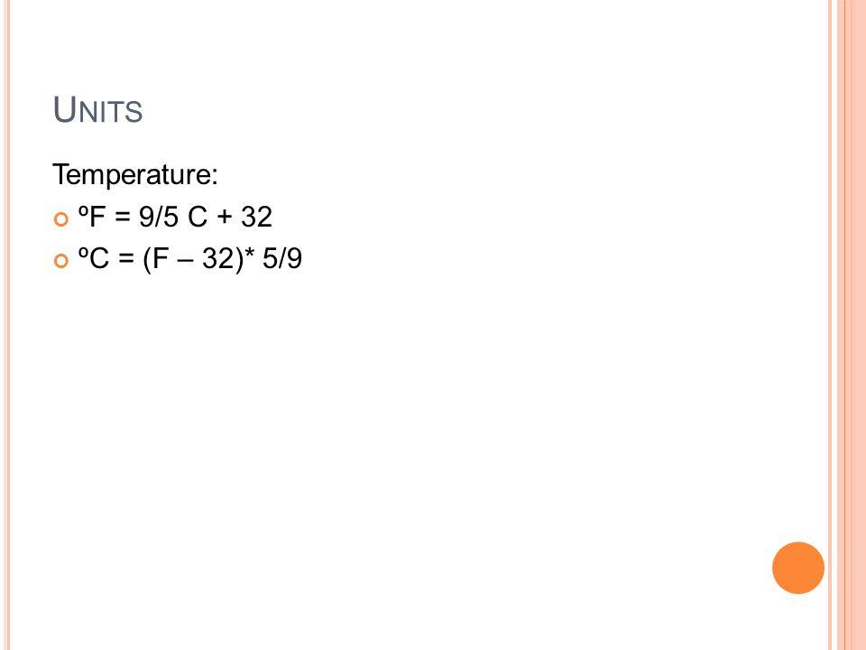 U NITS Temperature: ºF = 9/5 C + 32 ºC = (F – 32)* 5/9