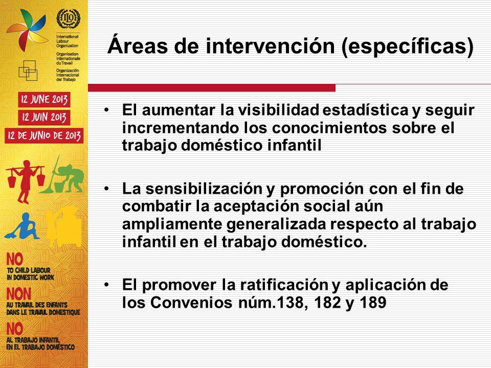 Áreas de intervención (específicas) El aumentar la visibilidad estadística y seguir incrementando los conocimientos sobre el trabajo doméstico infanti