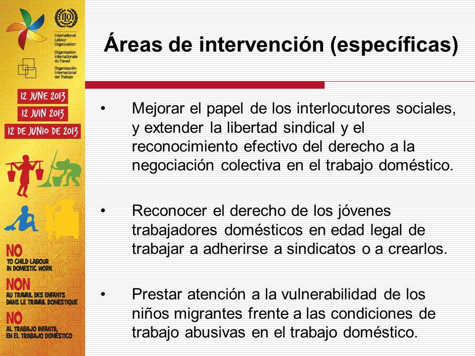 Áreas de intervención (específicas) Mejorar el papel de los interlocutores sociales, y extender la libertad sindical y el reconocimiento efectivo del