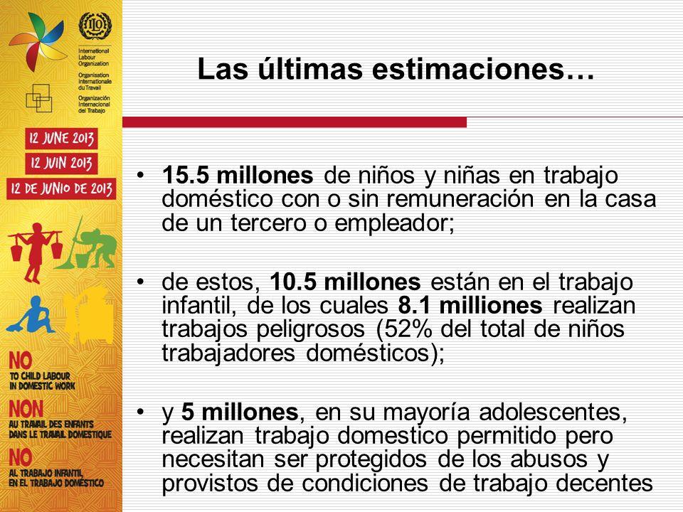 Las últimas estimaciones… 15.5 millones de niños y niñas en trabajo doméstico con o sin remuneración en la casa de un tercero o empleador; de estos, 1
