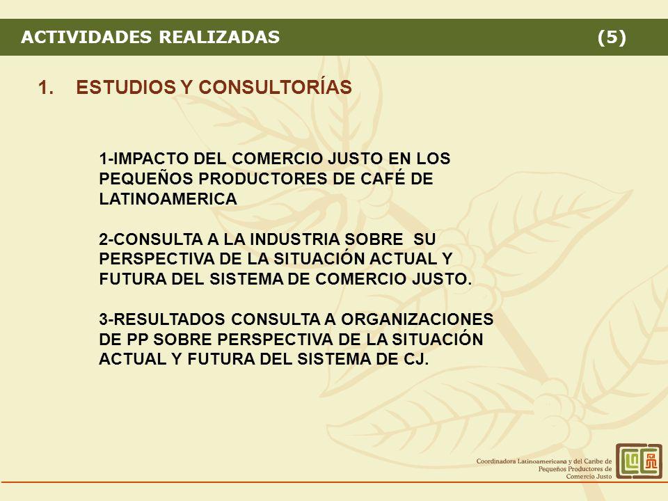 ACTIVIDADES REALIZADAS (5) 1.ESTUDIOS Y CONSULTORÍAS 1-IMPACTO DEL COMERCIO JUSTO EN LOS PEQUEÑOS PRODUCTORES DE CAFÉ DE LATINOAMERICA 2-CONSULTA A LA INDUSTRIA SOBRE SU PERSPECTIVA DE LA SITUACIÓN ACTUAL Y FUTURA DEL SISTEMA DE COMERCIO JUSTO.