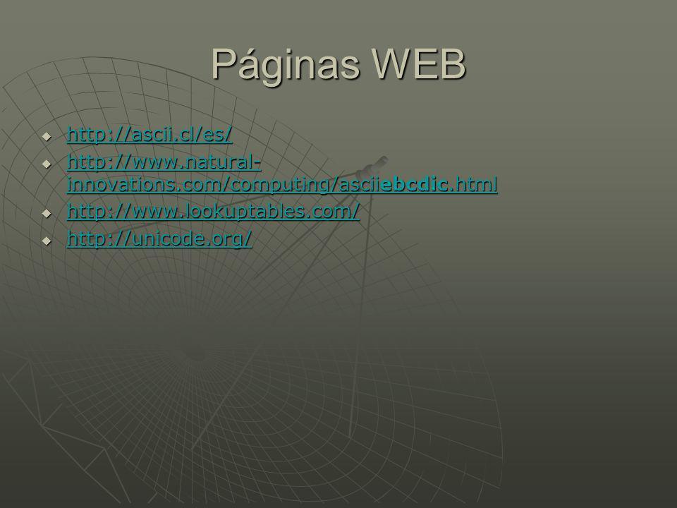 Páginas WEB http://ascii.cl/es/ http://ascii.cl/es/ http://ascii.cl/es/ http://www.natural- innovations.com/computing/asciiebcdic.html http://www.natural- innovations.com/computing/asciiebcdic.html http://www.natural- innovations.com/computing/asciiebcdic.html http://www.natural- innovations.com/computing/asciiebcdic.html http://www.lookuptables.com/ http://www.lookuptables.com/ http://www.lookuptables.com/ http://unicode.org/ http://unicode.org/ http://unicode.org/