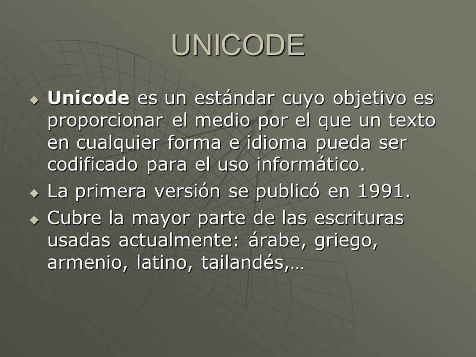 UNICODE Unicode es un estándar cuyo objetivo es proporcionar el medio por el que un texto en cualquier forma e idioma pueda ser codificado para el uso informático.