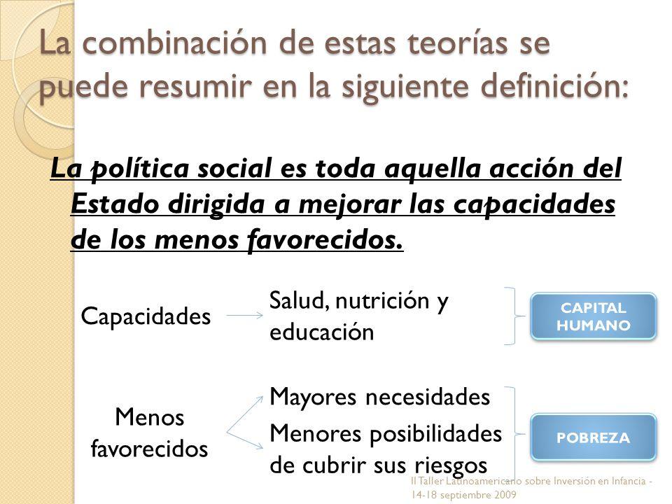 La combinación de estas teorías se puede resumir en la siguiente definición: La política social es toda aquella acción del Estado dirigida a mejorar l