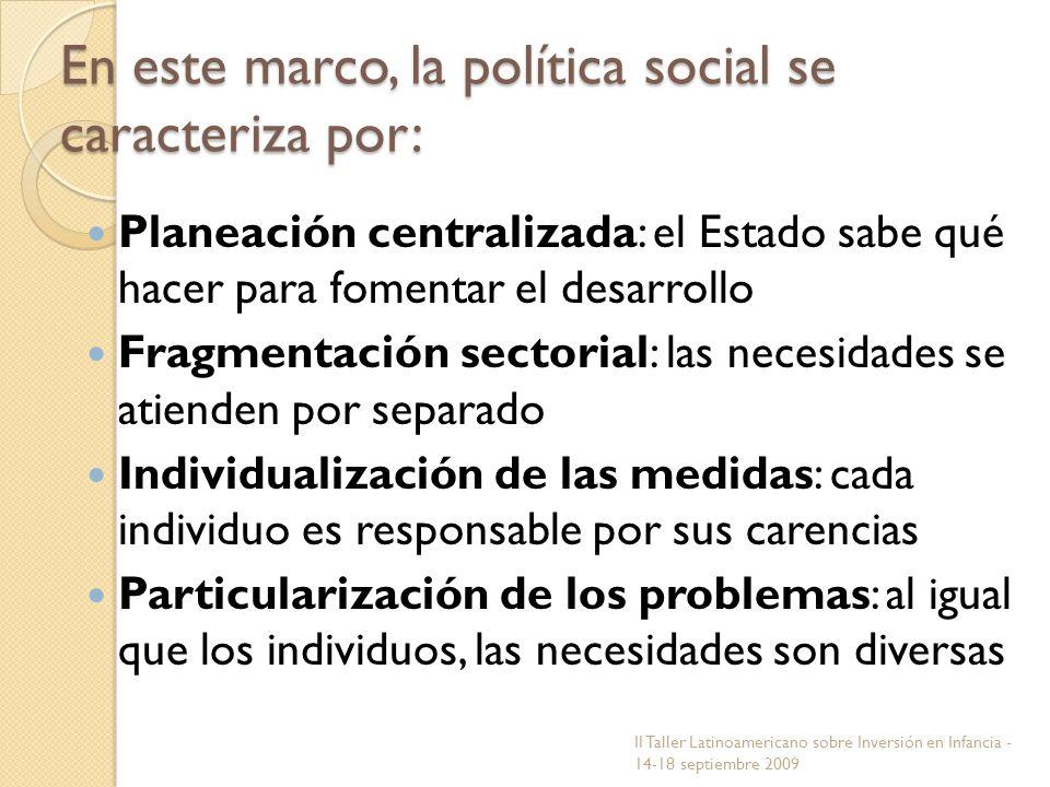 En este marco, la política social se caracteriza por: Planeación centralizada: el Estado sabe qué hacer para fomentar el desarrollo Fragmentación sect