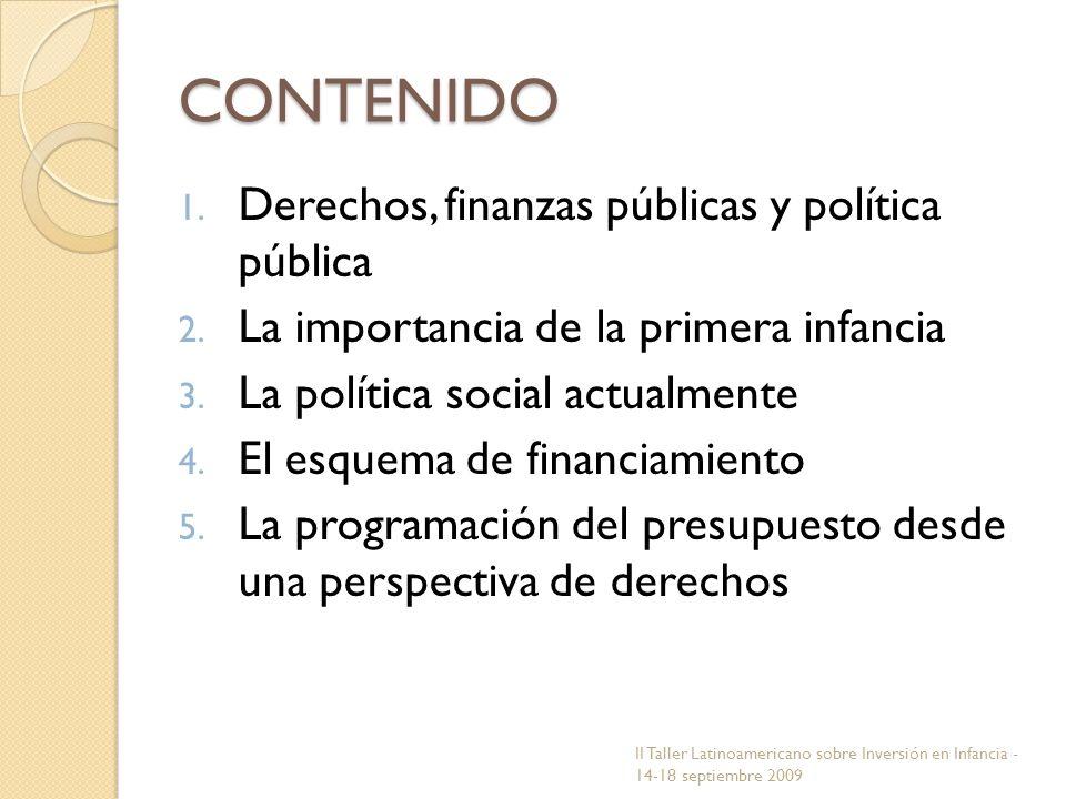 CONTENIDO 1. Derechos, finanzas públicas y política pública 2. La importancia de la primera infancia 3. La política social actualmente 4. El esquema d