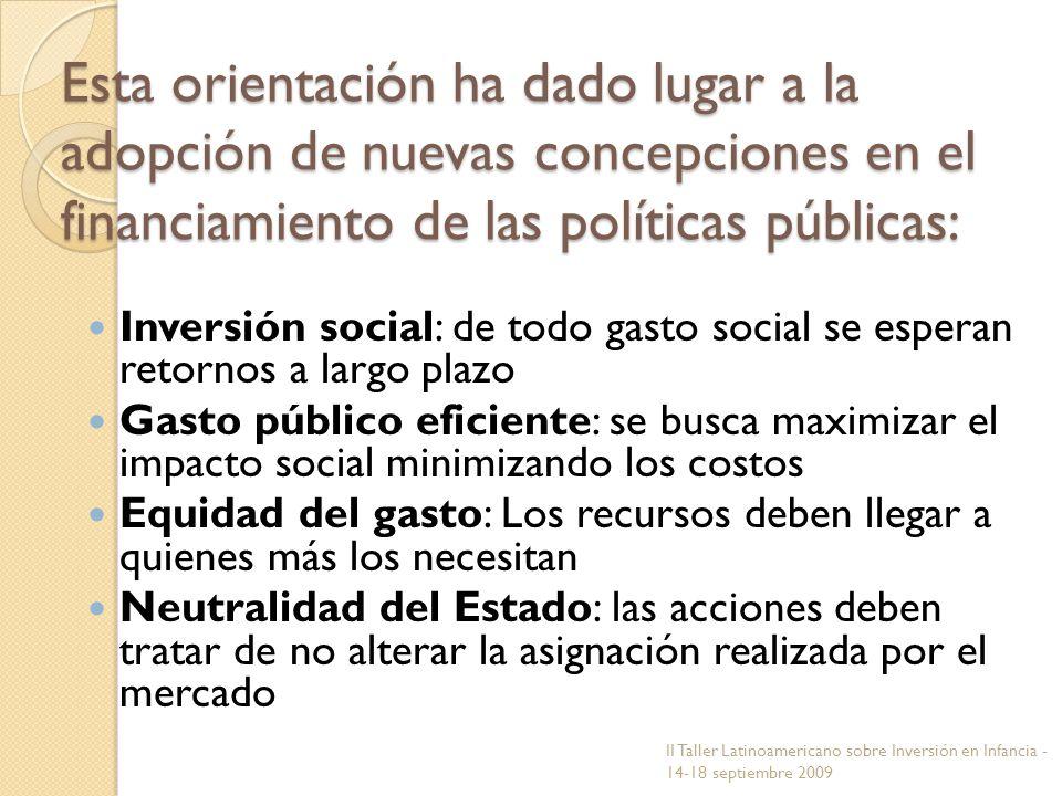 Esta orientación ha dado lugar a la adopción de nuevas concepciones en el financiamiento de las políticas públicas: Inversión social: de todo gasto so