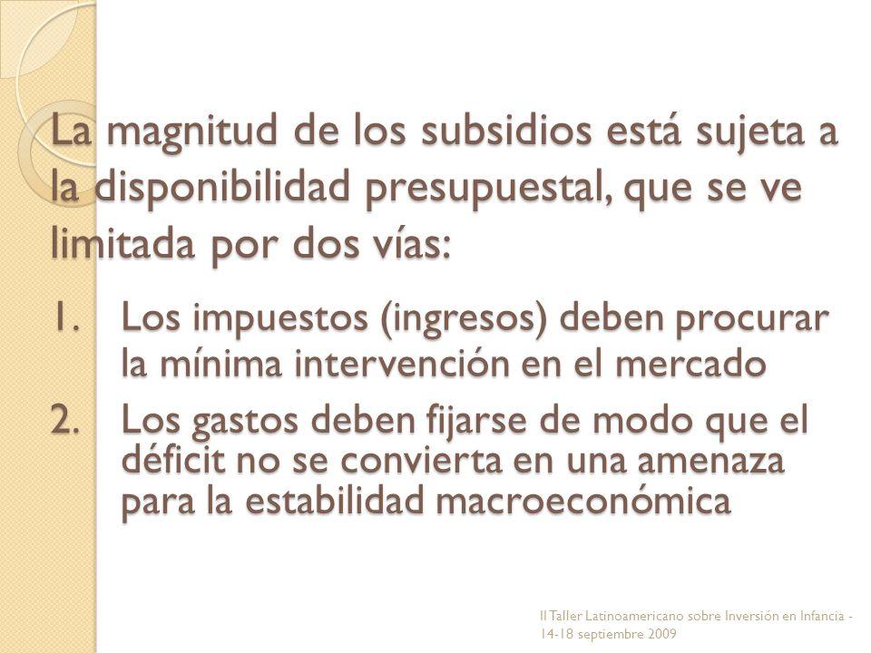 La magnitud de los subsidios está sujeta a la disponibilidad presupuestal, que se ve limitada por dos vías: 1.Los impuestos (ingresos) deben procurar
