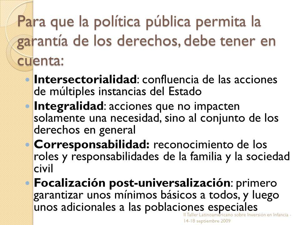 Para que la política pública permita la garantía de los derechos, debe tener en cuenta: Intersectorialidad: confluencia de las acciones de múltiples i