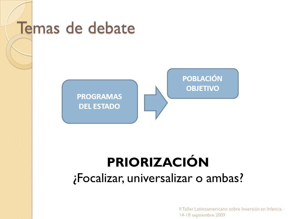 PROGRAMAS DEL ESTADO POBLACIÓN OBJETIVO Temas de debate PRIORIZACIÓN ¿Focalizar, universalizar o ambas? II Taller Latinoamericano sobre Inversión en I