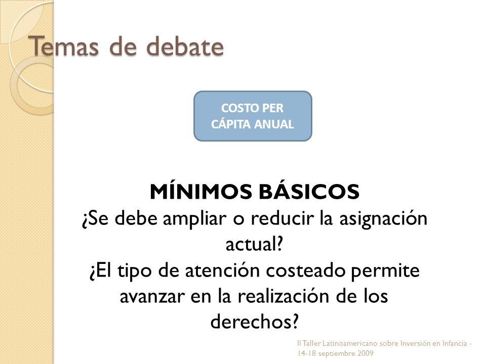 COSTO PER CÁPITA ANUAL Temas de debate MÍNIMOS BÁSICOS ¿Se debe ampliar o reducir la asignación actual? ¿El tipo de atención costeado permite avanzar