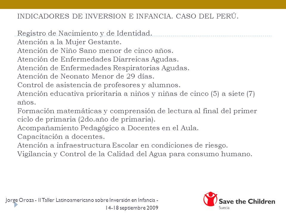 INDICADORES DE INVERSION E INFANCIA. CASO DEL PERÚ.